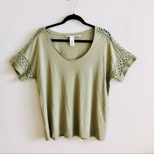 h&m | olive green linen blend embroidered top